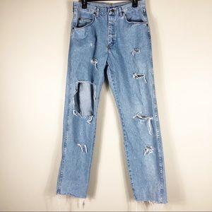Wrangler Light Wash Distressed Boyfriend Jeans